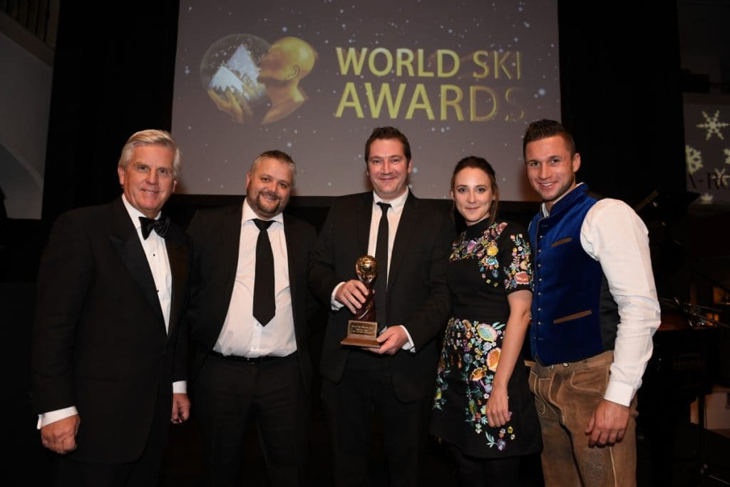 The Ski-Lifts team at the 2016 ski awards with the winners trophy